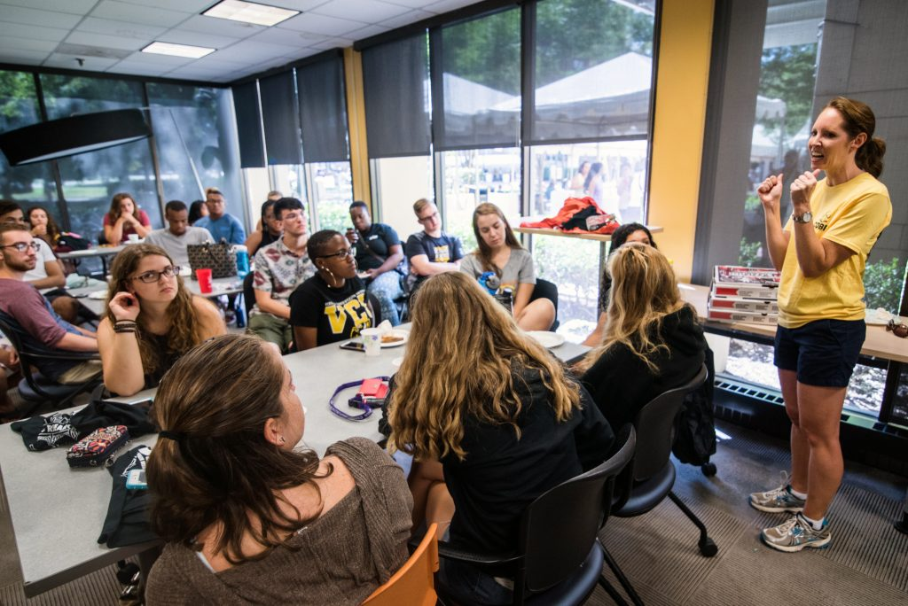 COBE Director Dr. Danielle Dick introduces students to Thrive at the launch party in August of 2016.